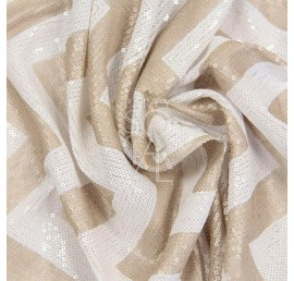 TC - Chevron Champagne/White Sequin 132